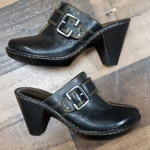 Born Black Leather Clog Sz 10